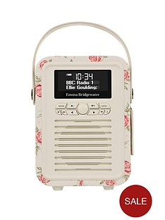 view-quest-retro-mini-dab-bluetooth-wireless-radio-emma-bridgewater-rose-and-bee