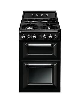 Smeg Tr62Bl Victoria 60Cm 2 Cavity Dual Fuel Mini Range Cooker  Black