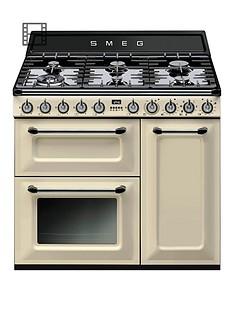 smeg-tr93pnbspvictoria-90cmnbsp3-cavity-dual-fuel-range-cooker-cream
