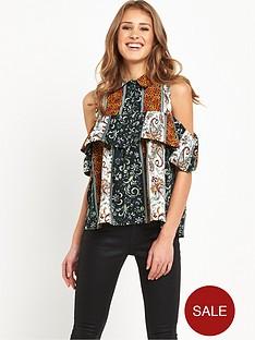 ax-paris-cold-shoulder-button-up-blouse