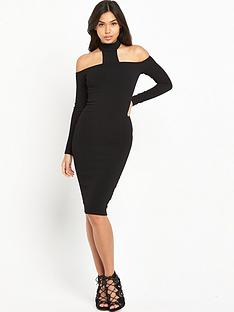 ax-paris-choker-neck-midi-dress