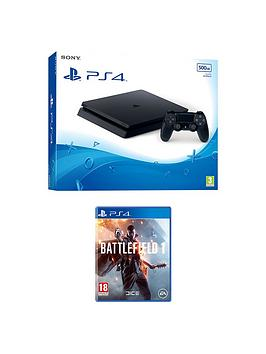 playstation-4-slim-500gb-black-console-with-battlefield-1-plus-optional-extra-dualshock-controller-andor-12-months-playstation-network