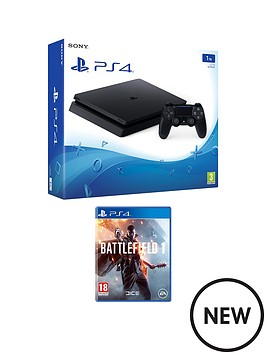 playstation-4-slim-1tb-black-console-with-battlefield-1-plus-optional-extra-dualshock-controller-andor-12-months-playstation-network