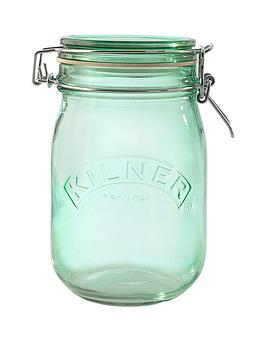 kilner-set-of-3-1-litre-round-clip-top-storage-jars-in-green