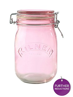kilner-set-of-3-1-litre-round-clip-top-storage-jars-in-pink