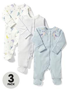 mamas-papas-baby-girls-birds-sleepsuits-3-pack