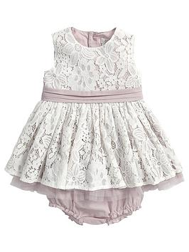 Mamas & Papas Baby Girls Lace Occasion Dress And Briefs Set (2 Piece)