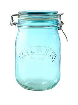 kilner-set-of-3-1-litre-round-clip-top-storage-jars-in-blue