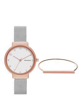 Skagen Ancher Watch &Amp Anette Bracelet Ladies Gift Set