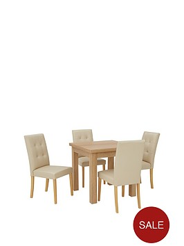 Square To Rectangle 80 160cm Extending Dining Table 4 Derby Chairs