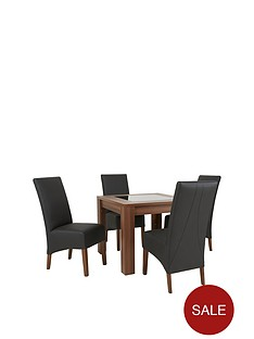 Avery 90 X Cm Square Reversible Top Dining Table 4 Eternity Chairs