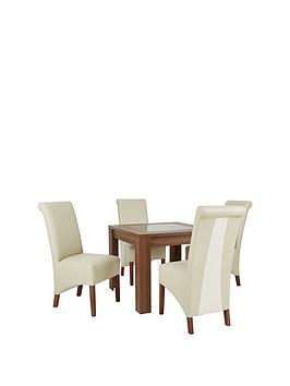 Avery Square 90 X 90 Cm Dining Table  4 Sienna Leather &Amp Suede Chairs