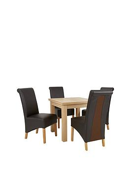 New Square To Rectangle Extending Dining Table &Amp 4 Sienna Leather &Amp Suede Chairs (Buy And Save!)