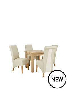 new-square-to-rectangle-extending-dining-table-amp-4-sienna-leather-amp-suede-chairs-buy-and-save
