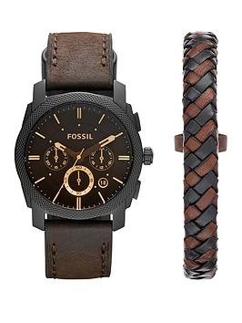 Fossil Fossil Fossil Machine Watch And Leather Cuff Mens Gift Set Picture