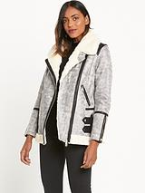Crackle Leather Look Aviator Coat