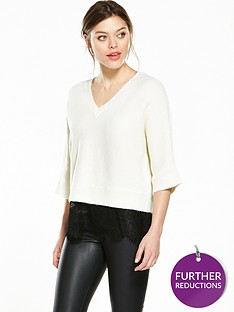 river-island-river-island-v-neck-jumper-with-lace-hem-detail