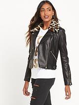 Leopard Collar Biker Jacket