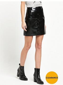 river-island-patent-button-down-mini-skirt