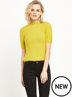 river-island-fluffy-t-shirt-lime-green