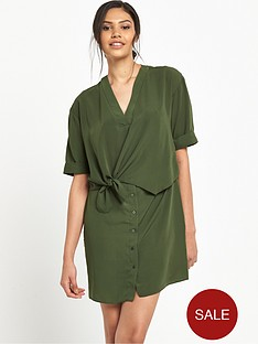river-island-tie-front-swing-dress-khaki