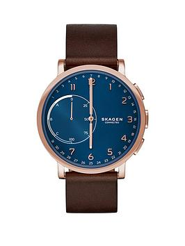 skagen-skagen-hagen-connected-blue-dial-leather-strap-smart-watch