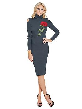 sistaglam-embroidered-high-neck-cold-shoulder-knitted-midi-dress