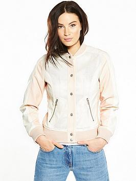 V By Very Pu Perforated Varsity Jacket