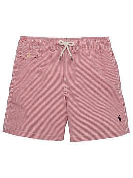 Ralph Lauren Boys Stripe Swim Shorts  Red