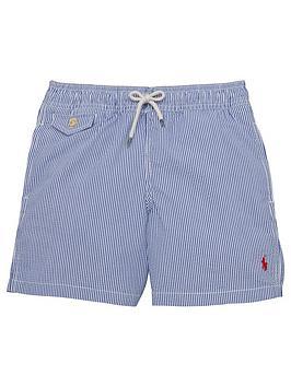 Ralph Lauren Boys Stripe Swim Shorts  Blue