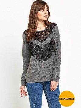 french-connection-lace-sweatshirt-grey-marl