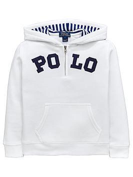 Ralph Lauren Boys Polo Overhead Hoody  White