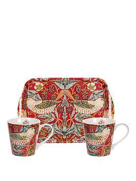 portmeirion-pimpernel-strawberry-thief-red-mug-amp-tray-set