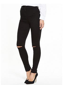 V By Very Addison Slash Knee High Waisted Skinny Jeans