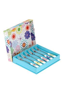 Portmeirion Crazy Daisy Set Of 6 Pastry Forks