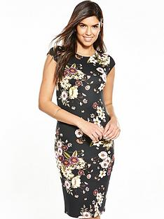 v-by-very-pontenbspfloral-bodyconnbspdress-black