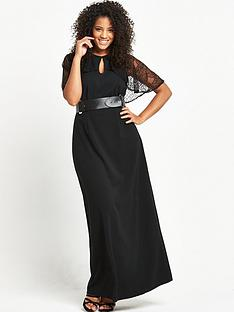 lost-ink-curve-maxi-dress-with-cape-back-black