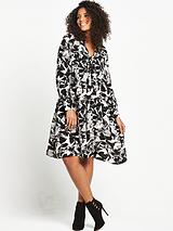 Pussybow Swing Dress - Black White