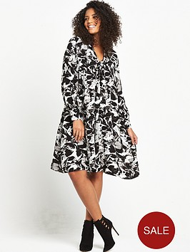 lost-ink-curve-pussybow-swing-dress-black-white