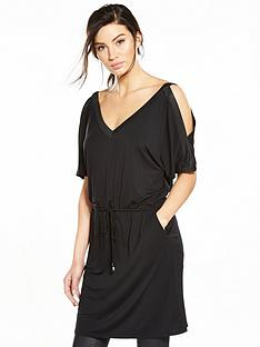 v-by-very-rib-trim-cold-shoulder-tunic-dress