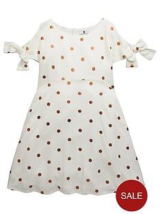 v-by-very-girls-copper-polka-dot-dress