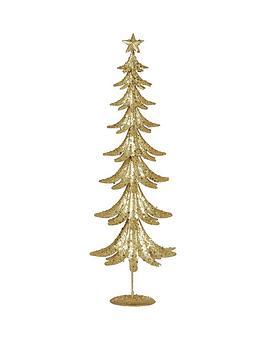 gisela-graham-gold-glitter-tin-christmas-tree-ornament
