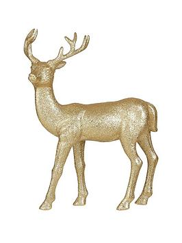 gisela-graham-gold-glitter-reindeer-ornament