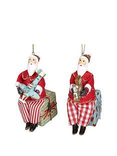gisela-graham-set-of-2-old-time-fabric-santa-claus-decorations