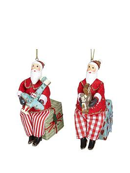 gisela-graham-set-of-2-old-time-fabric-santa-claus-decorations