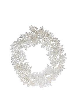 gisela-graham-silver-glitter-leaf-wreath