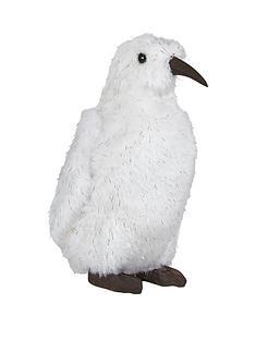 gisela-graham-white-fur-penguin-christmas-ornament