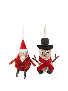 gisela-graham-bristle-santa-amp-snowman-decoration