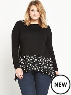 so-fabulous-woven-hanky-hem-jersey-top-black