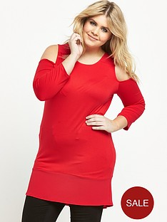 so-fabulous-woven-trim-cold-shoulder-jersey-top-red